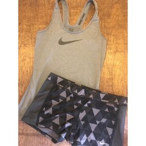 Nike Pro/ Dri-Fit workout outfit.